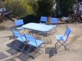 6 Seat Outdoor Garden Dining Table Folding Chairs (FS-1301+FS-5111)
