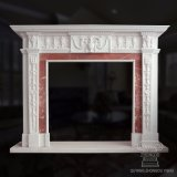 Fabulous Two Tone Marble Fireplace Surround in White and Red Marble
