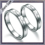 Fashion Top Quality Simple Solid Silver Engagement Ring for Gift