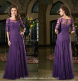 3/4 Sleeves Mother Wedding Dress Lace Purple Mother′s Evening Prom Dresses Z20163