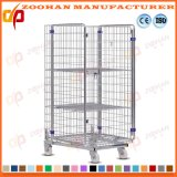 Galvanized Stackable Metal Steel Warehouse Storage Cage Roll Container (Zhra38)