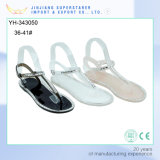 Ladies Flat Clip Toe Black/White PVC Sandals with Rhinestone