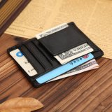 Magnet Money Clip Card Holder Men Genuine Leather Wallet