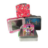 Tin Lunch Box with Plastic Handle Custom Printed Pattern Accept