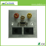 Aluminium Alloy Metal Faceplate VGA RCA Female Port Modules 86*86
