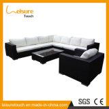New Design Durable Black Outdoor Garden Terrace Furniture Rattan Aluminum Corner Sofa Set