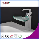 Fyeer Chrome Plated Fan-Shape Glass Spout Basin Faucet Sink Water Mixer Tap Wasserhahn