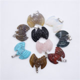 Assorted Natural Gemstone Agate Crystal Bat Halloween Charms Necklaces Pendants
