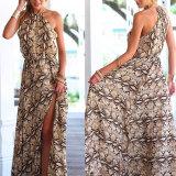 Fashion Women Sexy Chiffon Printed Split Long Tube Dress