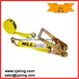 "Ratchet Strap/Tie Down W/ Double J-Hook 2"" X 27′ Yellow"