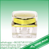 5/10/30/50g Double Wall 15g Acrylic Cream Jar with Gold Cap