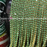 Handmade Decoration Gold Claw Glass Rhinestone Cup Chain (TCS-3mm peridot)