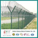 Airport Fence/Galvanized and PVC Coated /Green Color / with Razor Wire