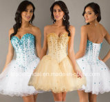 Crystals Mini Party Gowns Tulle Homecoming Cocktail Dresses Y1036