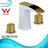 Gold and White Plated Dual Handle 3holes Basin Mixer Tap