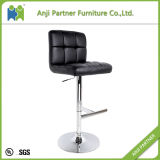 Soft Leather Bar Chair Chrome Metal Footrest Bar Chair (David)