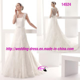 Beautiful A-Line Lace Belt Dress Wedding with Cap Sleeve