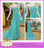 New Arrival Hot Sale Light Blue Chiffon One Shoulder Crystals Beaded Evening Dress 2014 (LH0001)