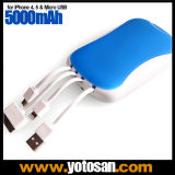 Portable Built in Micro USB Cable Mobile Power Bank 5000mAh for iPhone 4 5