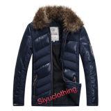 Men Leather Casual Fur Collar Warm Winter Design Waterproof PU Jacket (J-1618)
