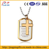 Gold Plated Zinc Alloy Metal Dog Tag with Cross Accessories
