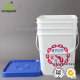 Wholesale 20L Square Food Grade Plastic Pail with Lid