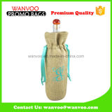 Wholesale Custom Single Wine Jute Drawstring Bag Nature Color
