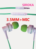 3.5mm Jack Flat Stereo Wired Earphone with Mic
