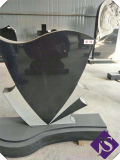 Cheap Black Carved Heart Shaped Granite Tombstone/Monuments