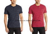 Custom Crew Neck Stripe Cotton T-Shirt with Pocket Design