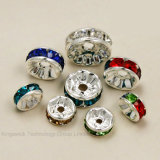 8mm Metal Silver Plated Crystal Rhinestone Rondelle Spacer Beads