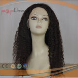 Human Afro Curly French Hand Tied Front Lace Natural Color Wig