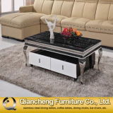 Modern New Design Marble Top Coffee Table with Drawers