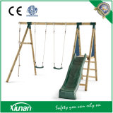 Round Wood Outdoor Swing Set for Children with Slide