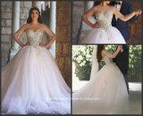 Puffy Arabic Bridal Ball Gown Sheer Tulle Sleeves Crystal Wedding Dress Ar2017