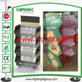 Supermarket Collapsible Stacking Basket Stand with Advertising Board