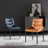 Modern Italian Hotel Restaurant Furniture Fabric Synthetic Leather Upholstery Dining Chair