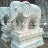 Granite Stone Animal Carving, Elephant Figurines, White Elephant Garden Statue