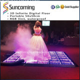 New RGB 3on1 LED Infinite 3D Mirror Wedding Dance Floor