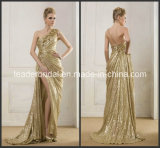 Gold Sequins Cocktail Evening Dress Vestidos Fashion Split Prom Gown Ld11511