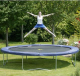 14FT Round Trampoline with 4 W-Shaped Legs for Backyard