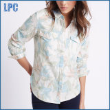 Linen Blend Floral Print Long Sleeve Shirt