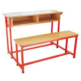 Wood Long School Desk for 2 Person with Book Case