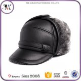 Genuine Leather Winter Faux Fur Trapper Hat for Men