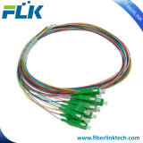 12 Color Coded Fiber Optical Pigtail with Sc/APC Connector