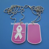 Metal Silver White Ribbon Dog Tags, Aluminium Dog Tag Necklaces
