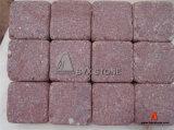 Red Porphyry Cubestone, Cobblestone, Granite Tumbled Cobble Stone for Paving
