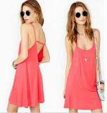 OEM 2015 Knitted 100% Cotton Backless Women Slip Dress