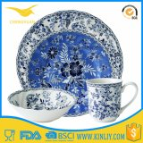 New Product Custom Unique Shape Blue Round Plate Melamine Ware
