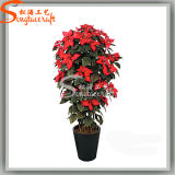 Hight Quatily Artificial Poinsettia Silk Flowers for Home Decoration (CT03)